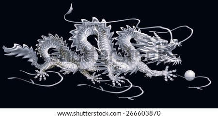Raster version / White Dragon moving horizontally on a black background - stock photo