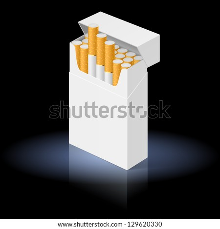 Raster version. White Pack of cigarettes isolated on black