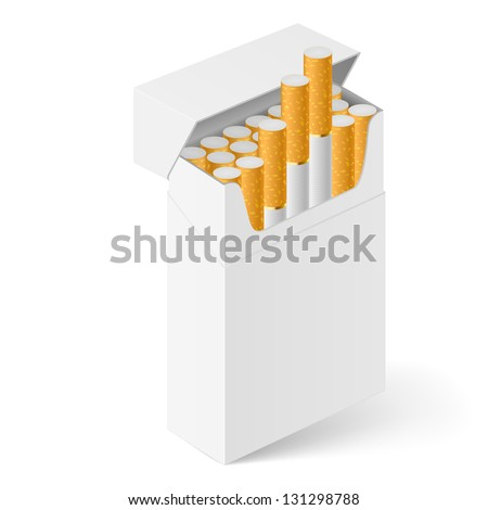 Raster version. White Pack of cigarettes isolated on white - stock photo