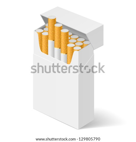Raster version. White Pack of cigarettes isolated on white background - stock photo