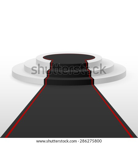 Raster version. White podium black carpet with red lines  - stock photo