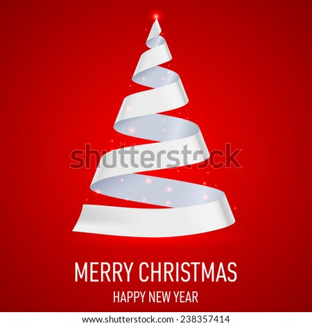 Raster version. White ribbon Christmas tree on red background.  Greeting card.  - stock photo