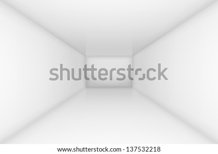 Raster version. White simple empty room interior. Illustration for design - stock photo