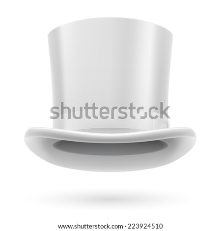 Raster version. White top hat on the white background.  - stock photo