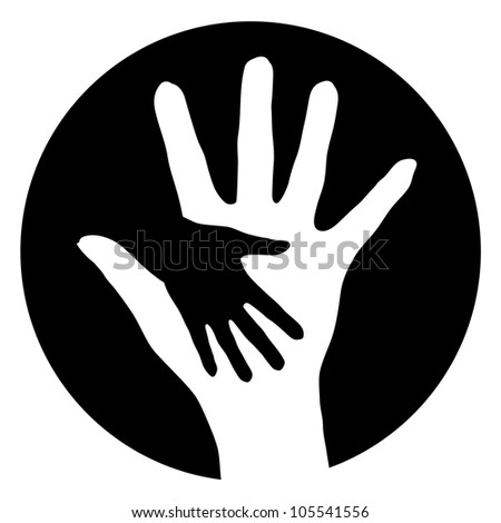 Raster version. Woman baby Help Hands. Abstract illustration for design.