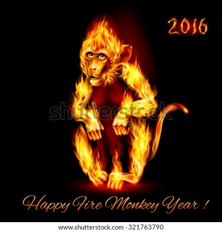 Raster version. Year Of The Red Fire Monkey. Greeting Card on black background