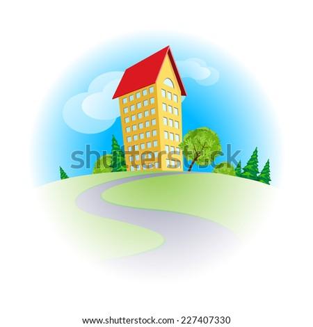 Raster version. Yellow cartoon multistorey house among trees in sunny day  - stock photo