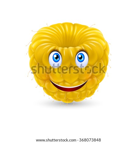 Raster version. Yellow Raspberry smiling face expression cartoon character on white