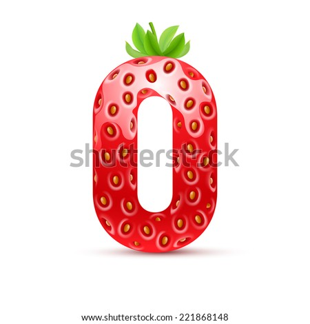 Raster version. Zero number in strawberry style with green leaves  - stock photo