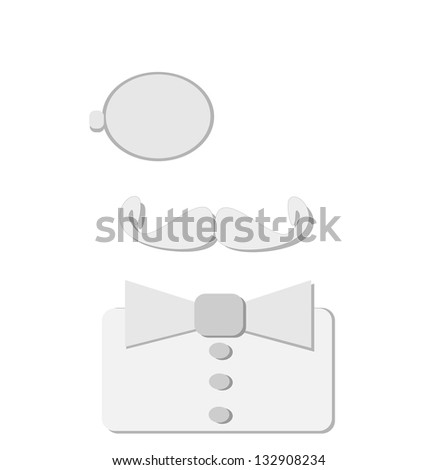 raster vintage man with monocle - stock photo