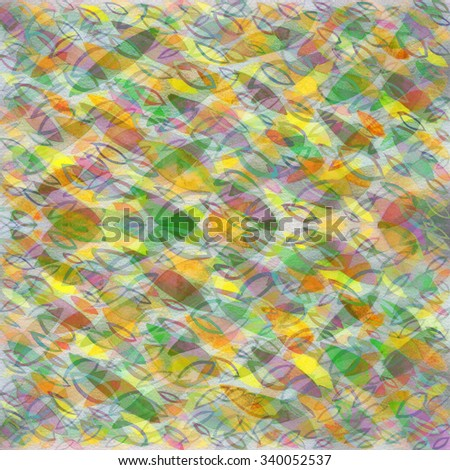 Raster watercolor abstract background with colored leaves (yellow-orange-green).