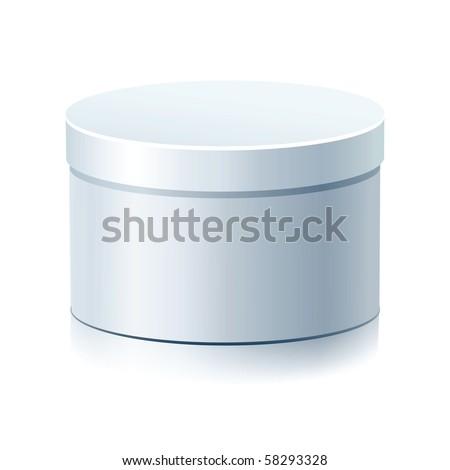 Raster White Blank Round Box Isolated on a White Background. - stock photo