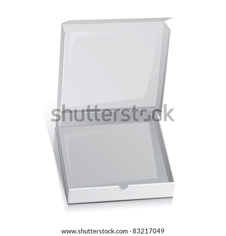 Raster white paper box for pizza.Isolated on white - stock photo