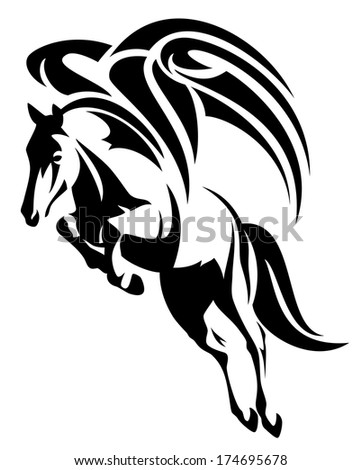 raster - winged horse design - black and white tribal style pegasus illustration - stock photo