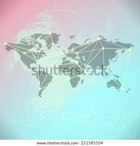 Raster World Map background with blue and pink paint splashes - stock photo