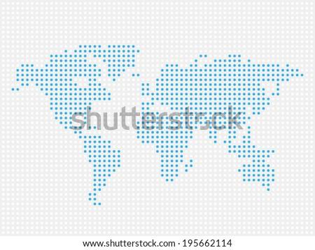 Raster world map dot illustration on white background. - stock photo