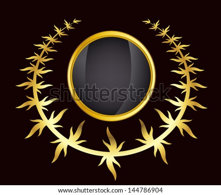 rasterized greece column and gold laurel wreath illustration. bitmap of vector version. see for vector version in my portfolio - stock photo