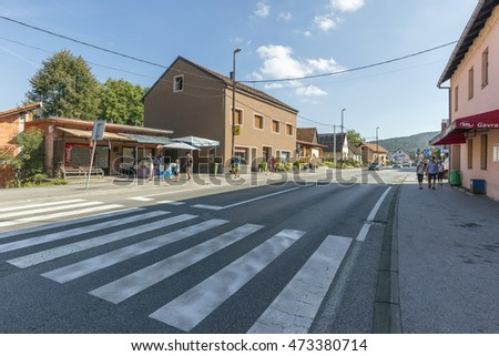 RASTOKE, CROATIA - AUG 20, 2016: New part of Rastoke village, the historic center of the Croatian municipality of Slunj. This old part of Slunj is known for its well-preserved mills.