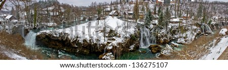 Rastoke waterfalls beautifull winter panorama, Croatia