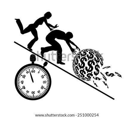 Rat Race for Money. Concept sign of couple greedy for money and anxiously to loose it - stock photo