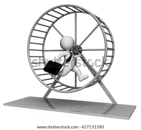 Rat Race Meaning Tired Out And Hurry 3d Rendering - stock photo