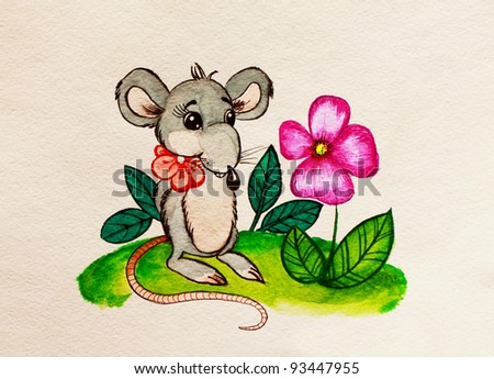 Rat with a flower. Watercolor painting.