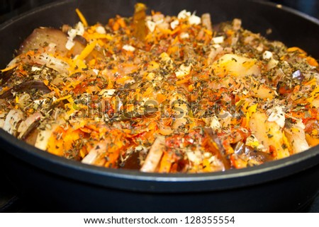 Ratatouille, hot vegetable stew in frying pan - stock photo