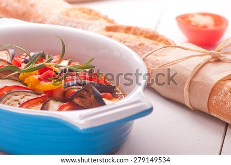 Ratatouille in a dish , casserole - stock photo
