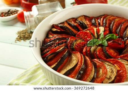 Ratatouille - traditional French Provencal vegetable dish cooked in oven - stock photo