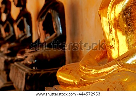 RATCHABURI-THAILAND-JUNE 25 : Hand of Buddha Statue in Thai temple, Buddha is a holy people revered in Thailand on June 25.2016 Ratchaburi Province, Thailand.