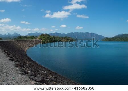 ratchaprapa dam landscape - stock photo