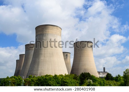 RATCLIFFE-ON-SOAR, ENGLAND - MAY 21: The cooling towers of E.ON UK controlled Ratcliffe-On-Soar power station, near Nottingham. In Ratcliffe-On-Soar, Nottinghamshire, England on 21st May 2015.