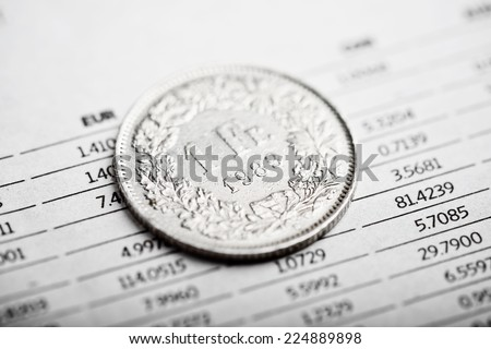 Rate of the  Swiss Franc (shallow DOF)  - stock photo