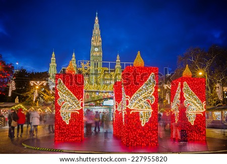 Rathaus and christmas market in Vienna, Austria - stock photo