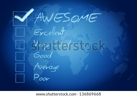 Rating / assessment checkbox concept on blue background with world map - stock photo