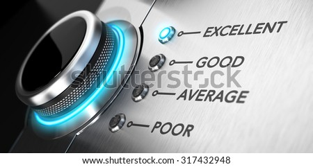Rating button positioned on the word excellent. Conceptual image for illustration of good customer service and client satisfaction. - stock photo