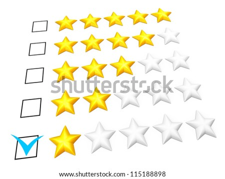 Rating concept. One star mark. Isolated on white. - stock photo