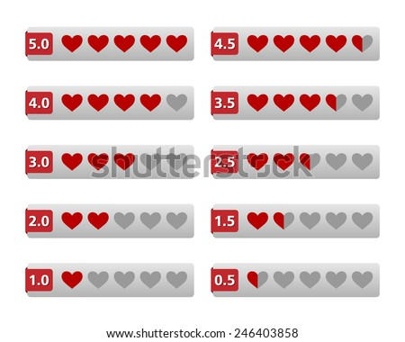 Rating hearts buttons. Vector available. - stock photo