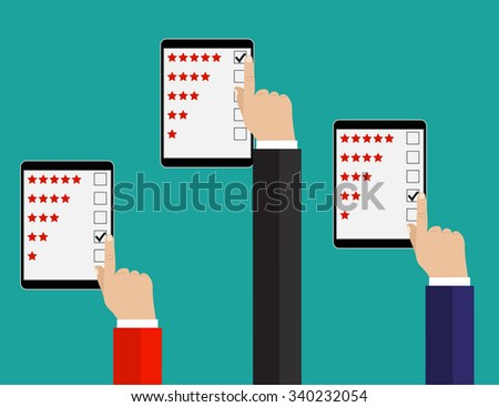Rating illustration. Flat design. Rating system on phone screen. Giving feedback concept.  Raster version.  - stock photo