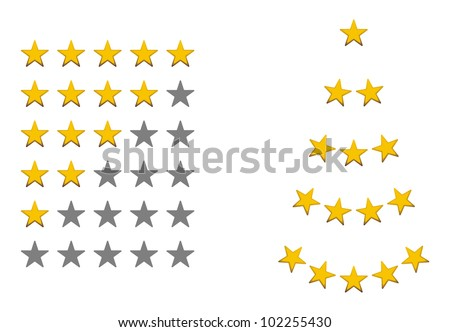 Rating signs, yellow, gold stars - stock photo
