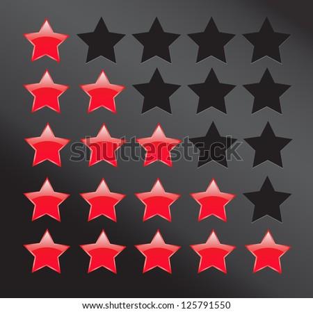 Rating stars on dark background. - stock photo