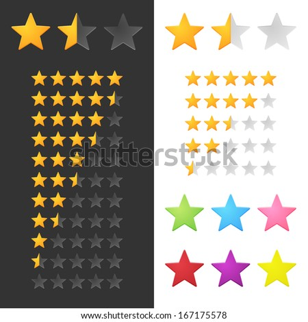 Rating Stars Set. Raster Version - stock photo