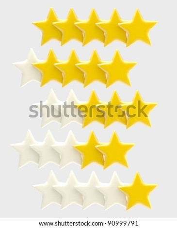 Rating system from one up to five golden stars, isolated on grey