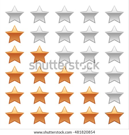 Ratings Stars on white background.