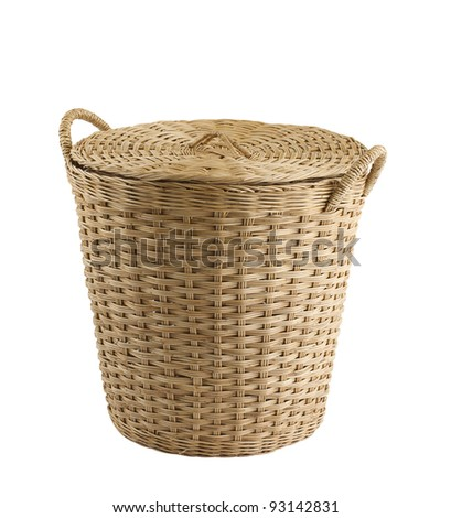 Rattan basket isolated on white background