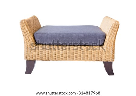 Rattan furniture sofa  isolated on white. - stock photo
