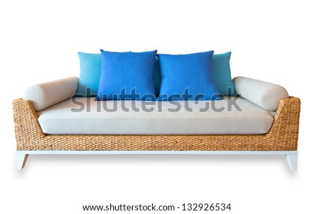 Rattan sofa  isolated, with clipping path - stock photo