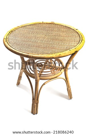 Rattan table isolated on white - stock photo
