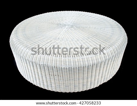 rattan table on black Background
