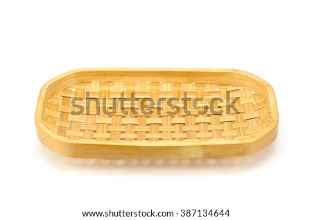 Rattan weave  trays isolated on white background with clipping path - stock photo
